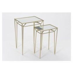 2 tables gigognes carrées dorées