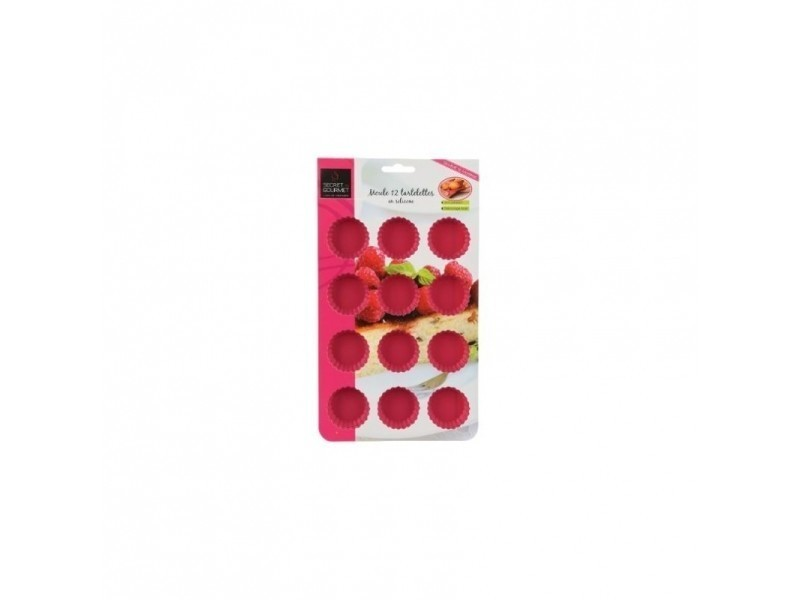 Moule mini tartelettes - 24 x 16 x 1,3 cm - silicone - rose