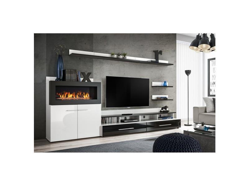 Ensemble murale meuble tv - camino - 8 éléments - blanc et noir