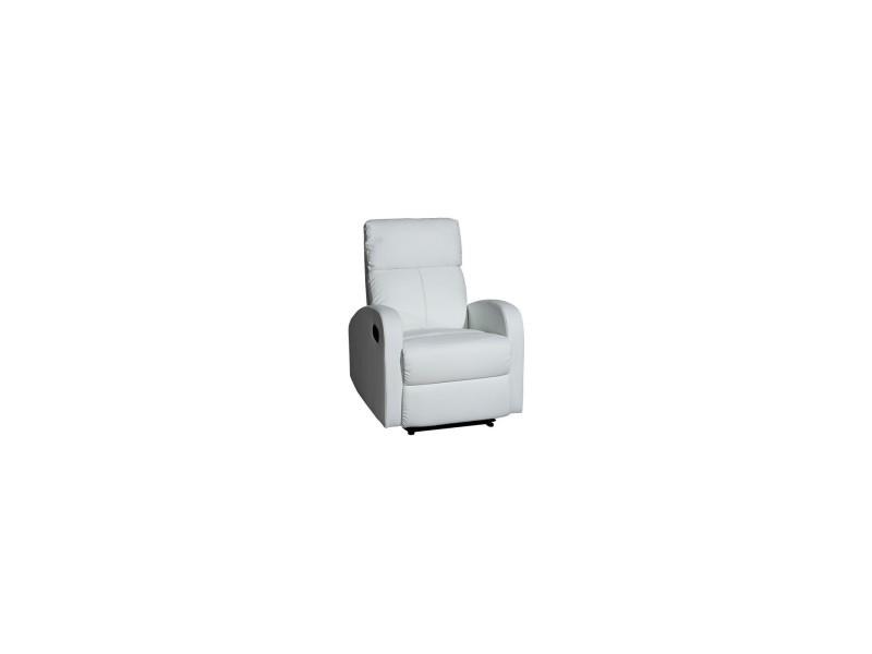 Momma home - fauteuil tavira de relaxation réglable par poignée manuelle. Revêtement en simili-cuir blanc. MOMMA HOME