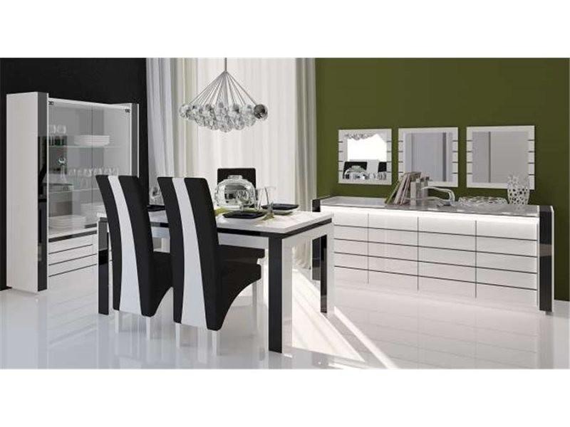 Table manger design niln blanc et noir 160 linn - Conforama table de salle a manger ...