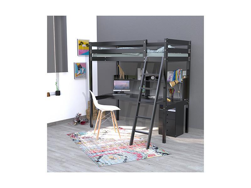 lit mezzanine studio 90x190 caisson 3 tiroirs bureau tag re 1 sommier noir 322637. Black Bedroom Furniture Sets. Home Design Ideas
