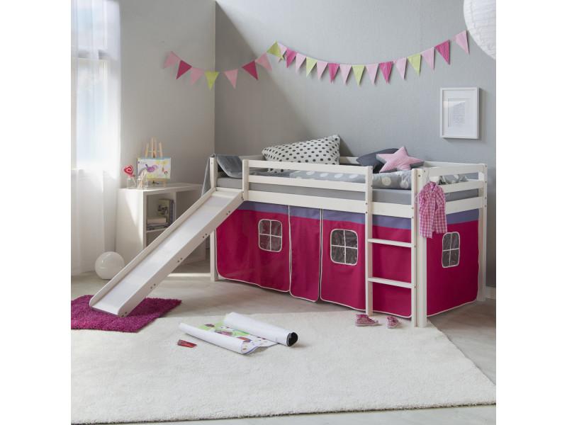 Admirable lit mezzanine en bois de qualité enfant rose avec toboggan et échelle 90 x 200 cm