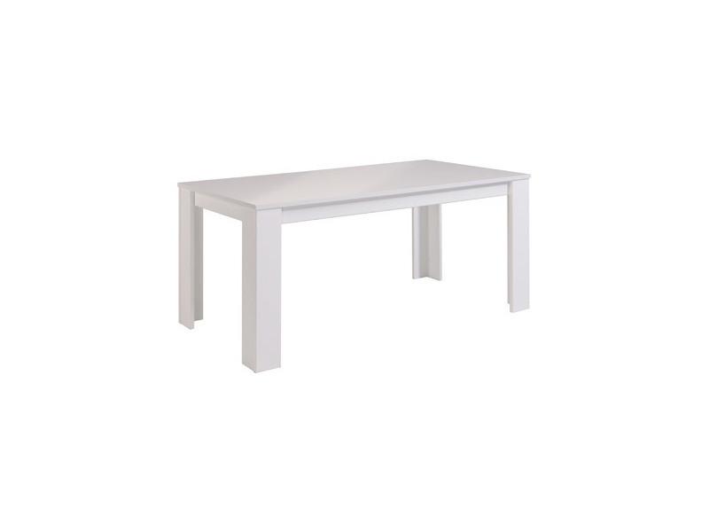 Table rectangulaire 170x88x77cm coloris blanc laqué