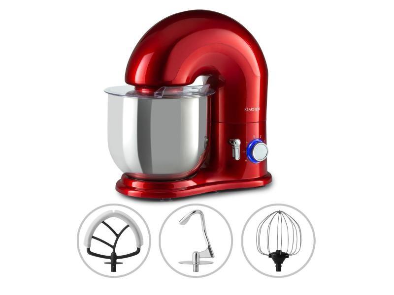 Klarstein delfino - robot de cuisine multifonction 1800w , 6 vitesses, fonction pulse, bol inox 7 litres - rouge