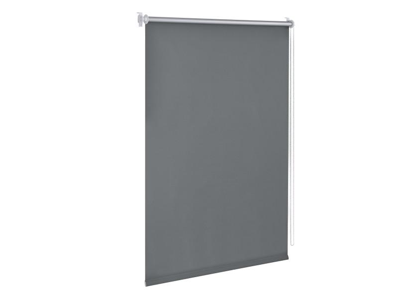 Store enrouleur stylé sans perçage pour tamiser la lumière store à chainette latérale réglage en continue bande de tissu polyester 80 x 220 cm gris foncé [en.casa]