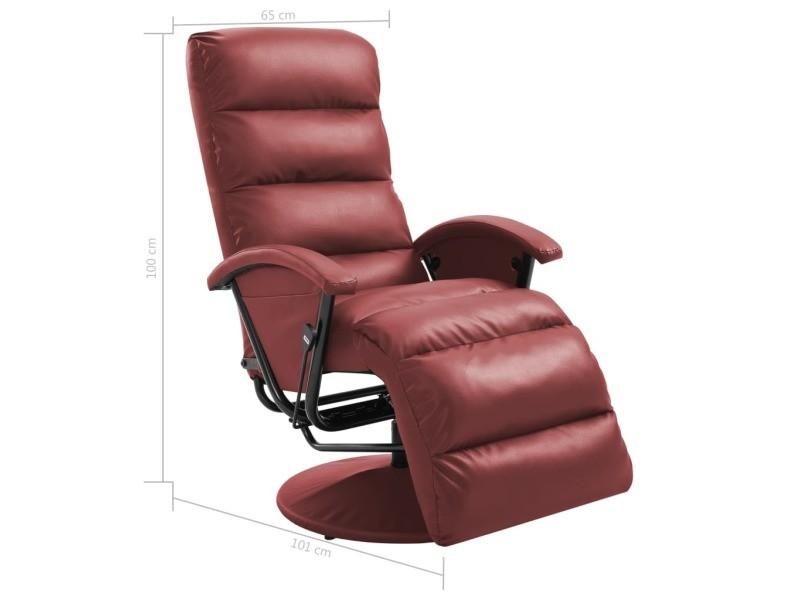 Vidaxl fauteuil inclinable tv rouge bordeaux similicuir