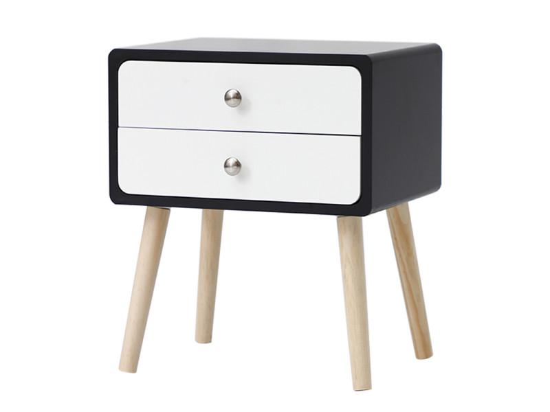 Une table de chevet, table de nuit hombuy - style scandinave - noir et blanc