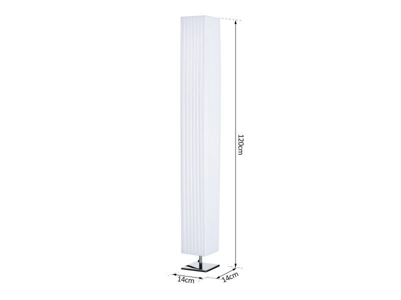 lampe lampadaire colonne sur pied moderne lumi re tamis e 40 w 14l x 14l x 120h cm inox blanc. Black Bedroom Furniture Sets. Home Design Ideas