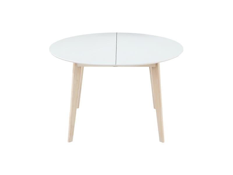 Table à Manger Design Ronde Extensible Blanc Et Bois L120