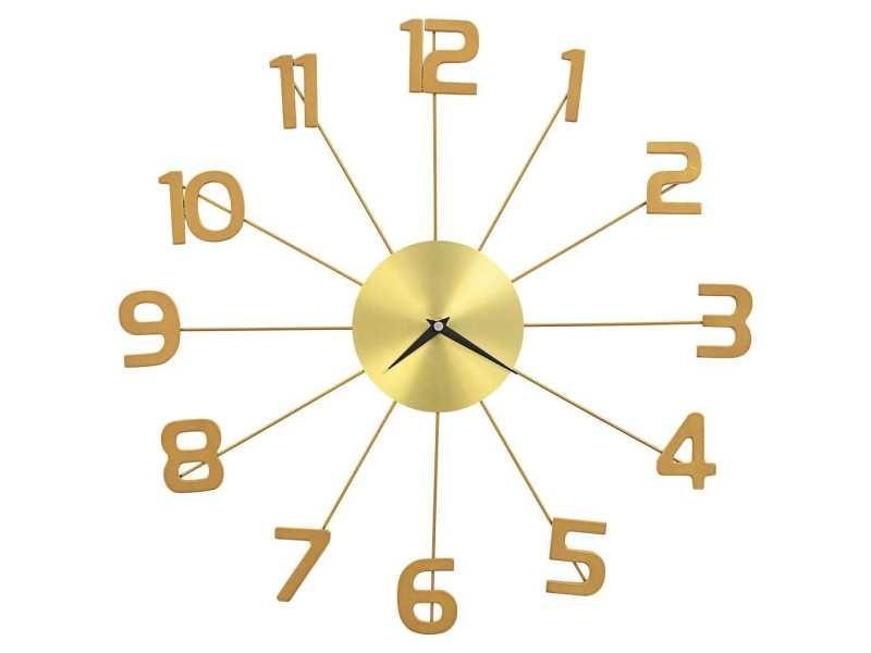 Vidaxl horloge murale métal 50 cm doré 283858