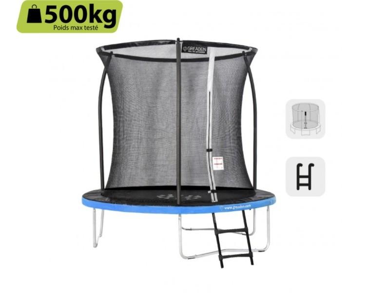 Greaden trampoline de jardin freestyle bleu 250 set complet avec filet coussin de protection + échelle ø 244cm - ultra sécurisé