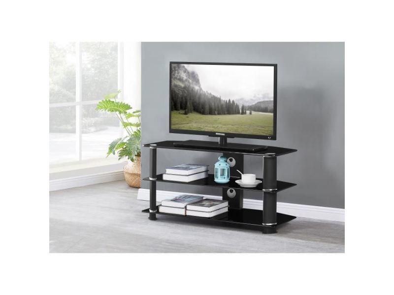 Meuble tv - meuble hi-fi nathan meuble tv en verre trempé noir - l 90 x p 40 x h 45 cm
