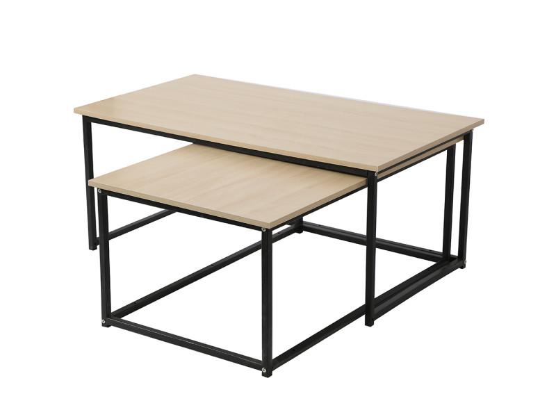 Lot de 2 tables de basse hombuy style industriel couleur bois