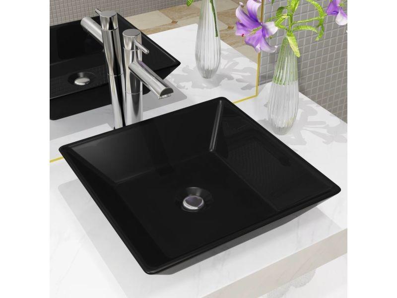 Chic éviers et lavabos ligne luxembourg lavabo céramique carré noir 41,5 x 41,5 x 12 cm