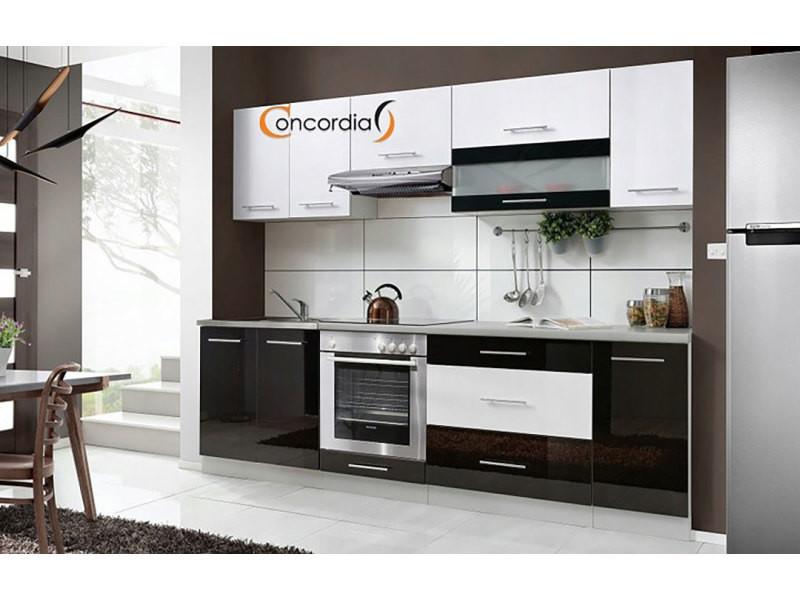 Elm 260 - cuisine complète l2,6 m - 8 pcs + plan de travail inclus - ensemble meubles cuisine linéaire + armoire four encastrable - noir/blanc