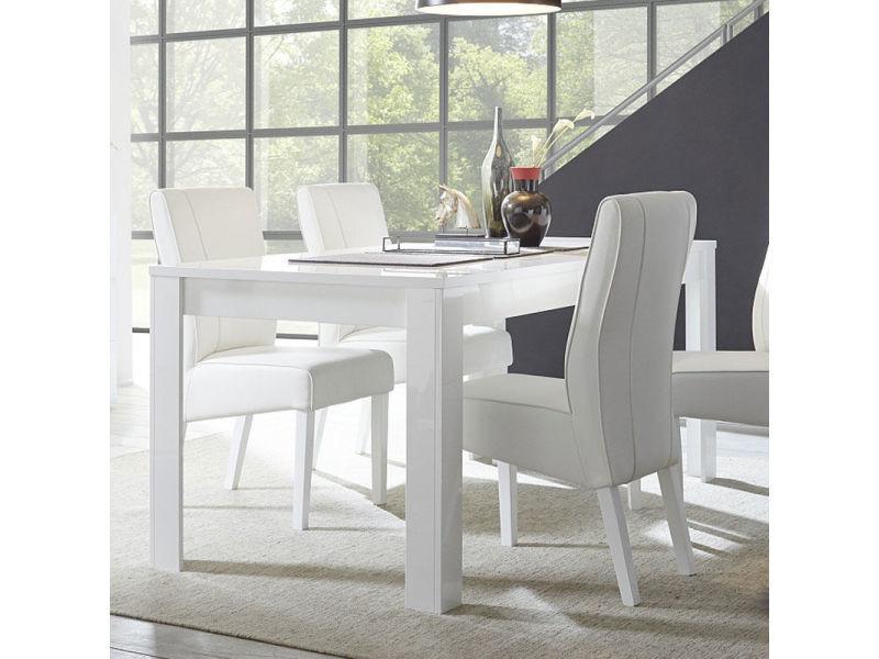 Table salle à manger design blanc laqué sandrea - Vente de ...
