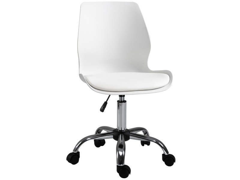 Chaise de bureau design contemporain hauteur réglable pivotant 360° piètement chromé p.u blanc