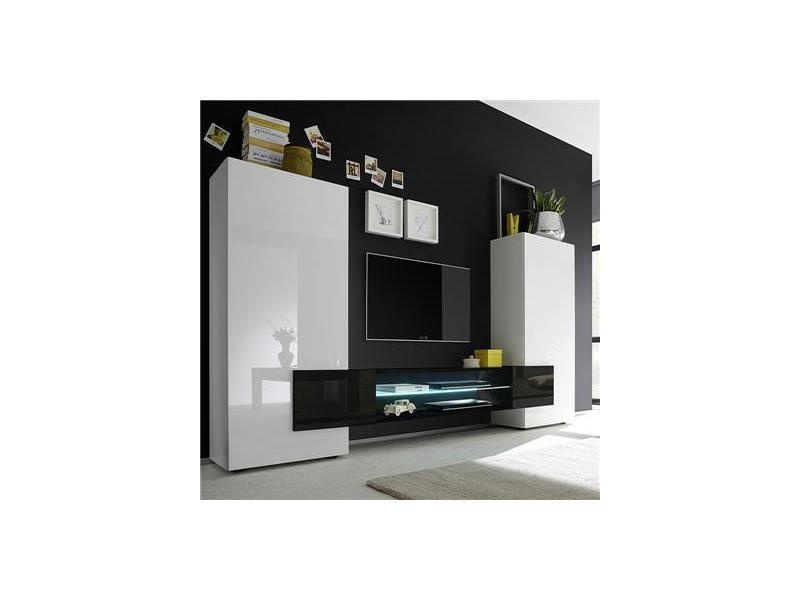 Meuble Tv Mural Blanc Et Noir Laque Luxor Vente De