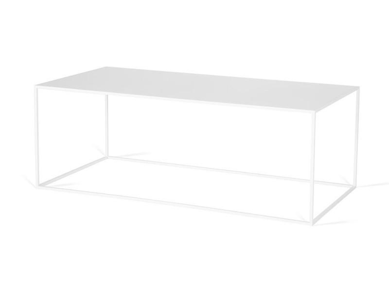 Table basse industrielle rectangulaire en métal flore / coloris : blanc
