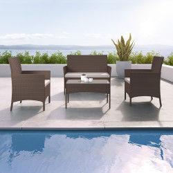 Imora - salon de jardin résine tressée marron foncé - ensemble 4 places - canapé + fauteuil + table