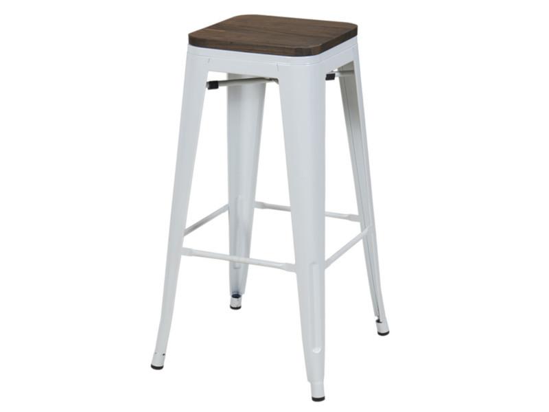 Duhome tabouret de bar en métal / fer blanc assise en bois foncé empilable design industriel 665d