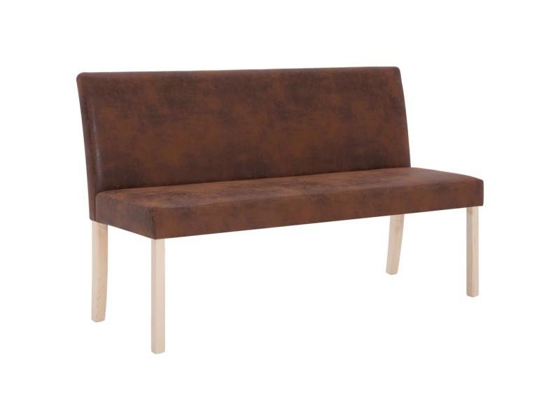 Icaverne - bancs coffres gamme banc 139,5 cm marron similicuir daim