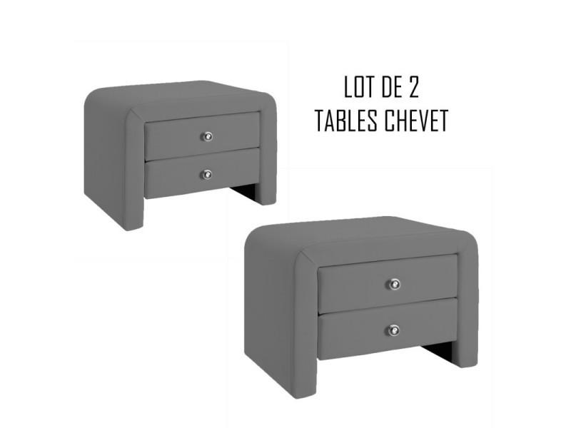 Table chevet design gris eva x2