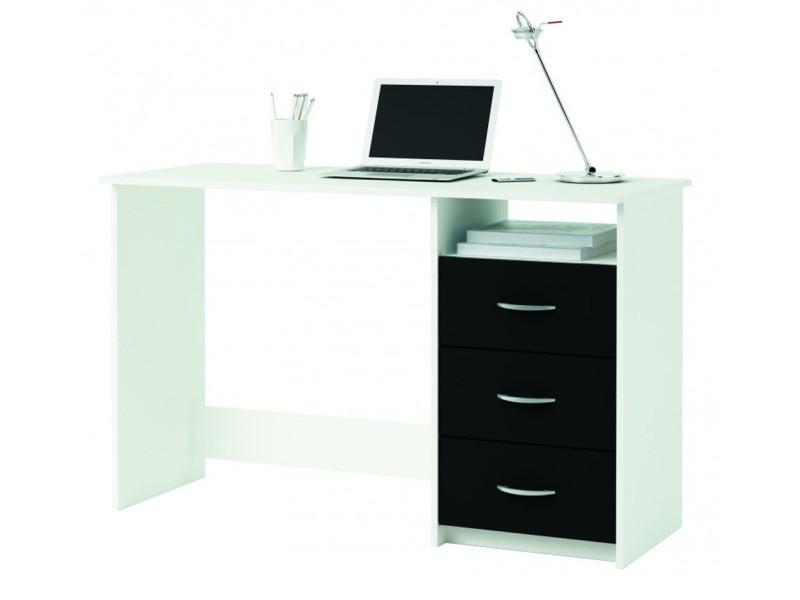 Bureau 1 caisson 3 tiroirs blanc perle noir l 123 x h 76 x p 50 cm