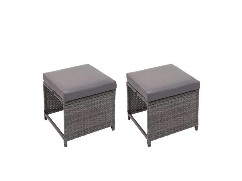 2x tabouret en polyrotin hwc-g16, tabouret de jardin, siège, gastronomie ~ gris, coussin gris foncé