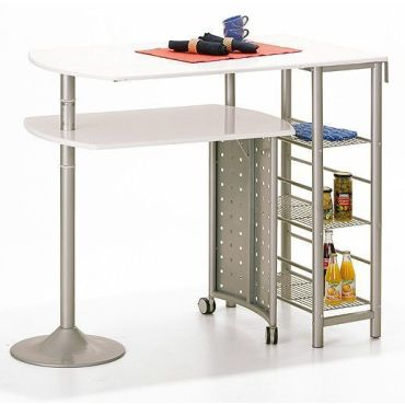 Table Bar Cuisine En Mtal Coloris Blanc Design  Conforama