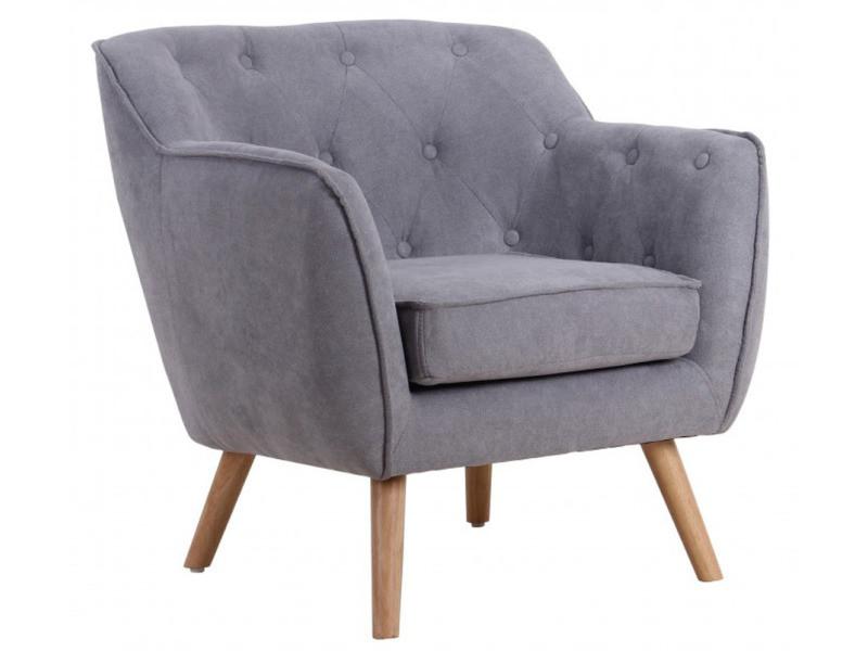 Fauteuil design en bois et tissu coloris gris - dim : 76 x 74 x 77 cm -pegane-