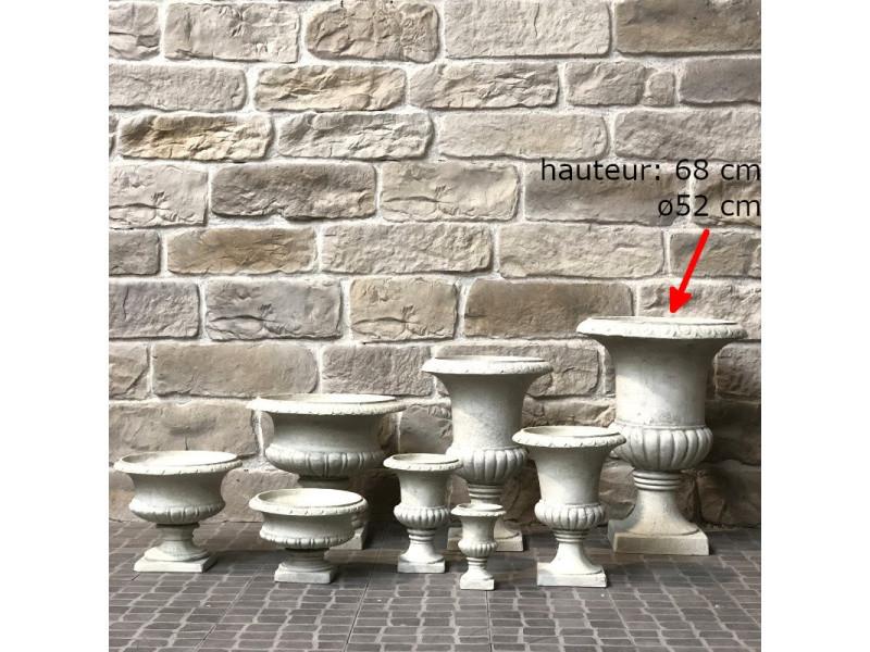 Vase pot vasque jardinière médicis de jardin blanc hauteur ...