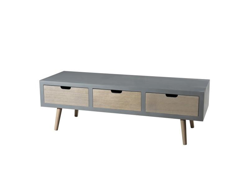 meuble tv 3 tiroirs design scandinave en bois massif pin et mdf 120cm p 39351 co c perisa. Black Bedroom Furniture Sets. Home Design Ideas