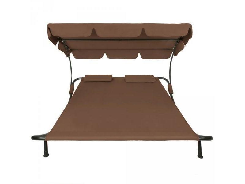 Bain de soleil chaise longue transat 2 places avec pare soleil 2 places marro - Bain de soleil 2 places ...