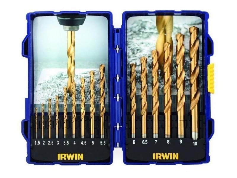 Irwin - coffret de 15 forets à métaux hss titanium de 1,5 à 10 mm - 10503991 D-10503991