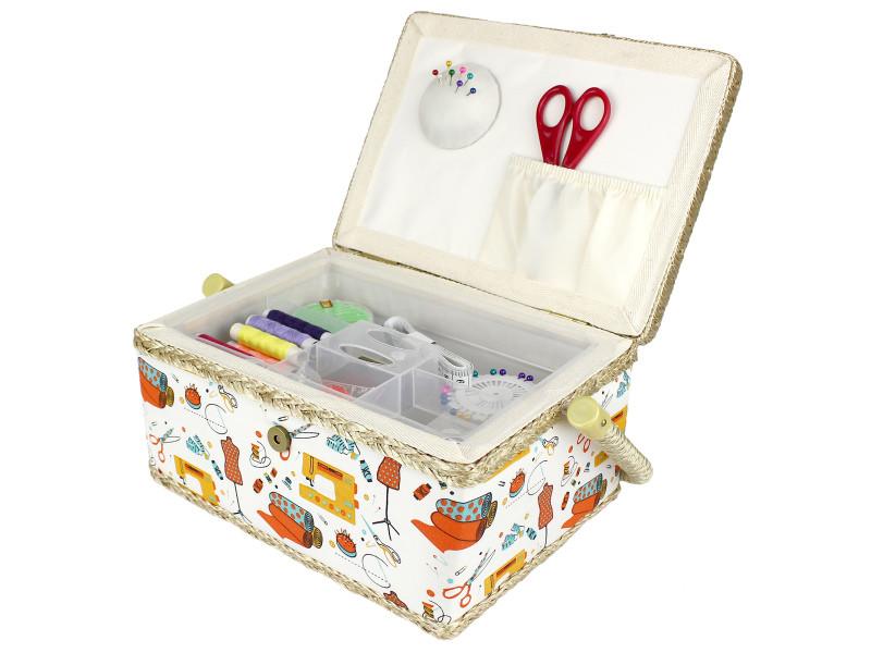 Kit de couture, panier à couture, 24 x 17,5 x 13 cm, atelier de couture orange, dimensions: 24 x 17,5 x 13 cm 3700778721646