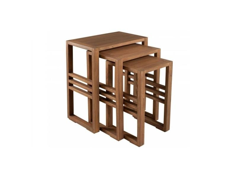 Ensemble de 3 tables gigognes laura en mindi style colonial 20100857988