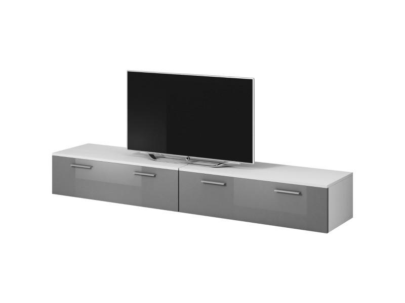 """E-com - Meuble TV """"Boston"""" - 200 cm - blanc / gris TVU107200WGHG"""