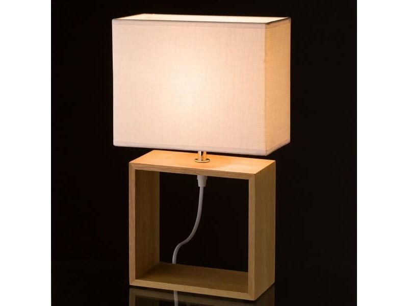 Blanc À 41cm Poser Lampe Bois Hauteur Boewrxdc Jour Rectangulaire Abat OP8nw0k