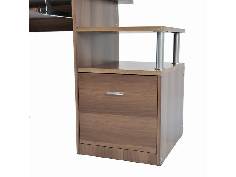 bureau pour ordinateur table meuble pc informatique multimedia en mdf noyer 82 vente de homcom. Black Bedroom Furniture Sets. Home Design Ideas