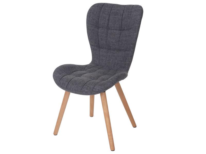 6x Chaise De Séjour / Salle à Manger Malmö T836, Style Rétro Des Années 50  ~ Tissu, Gris