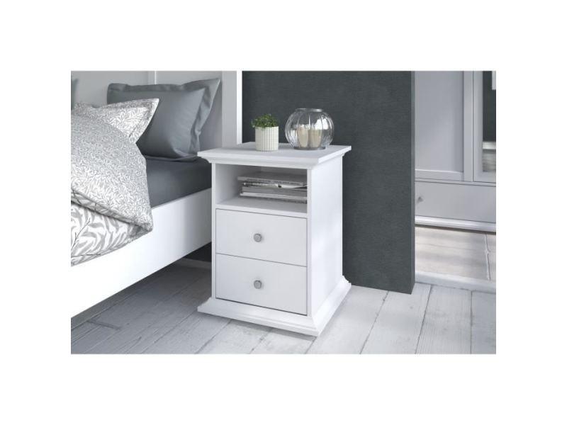 Chevet manon chevet 2 tiroirs blanc - l 45 x p 58 x h 41 cm