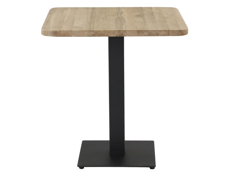 Table bistrot plateau chêne carré 70 x 70 cm avec coins arrondis piétement métal noir carré plat