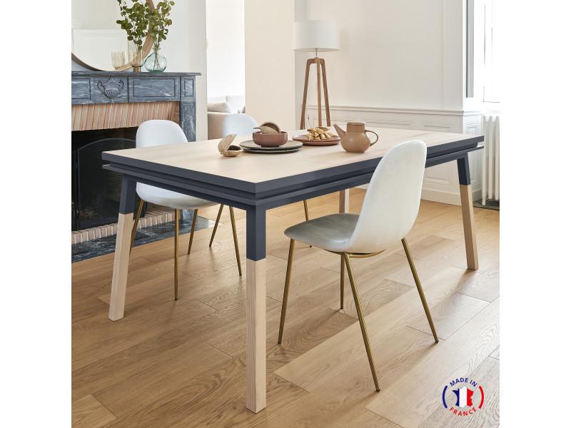 Table extensible bois massif 220x120 cm bleu sombre de rance - 100% fabrication française