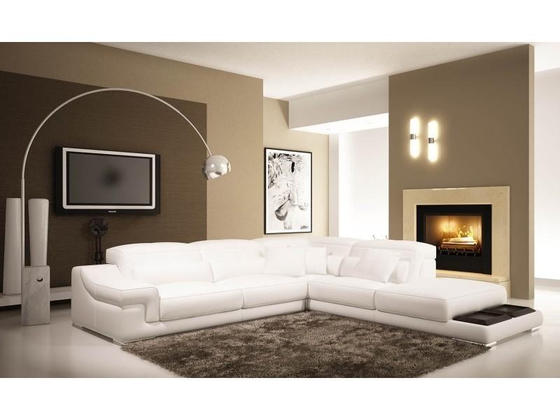 Canapé d'angle en cuir blanc grissom-