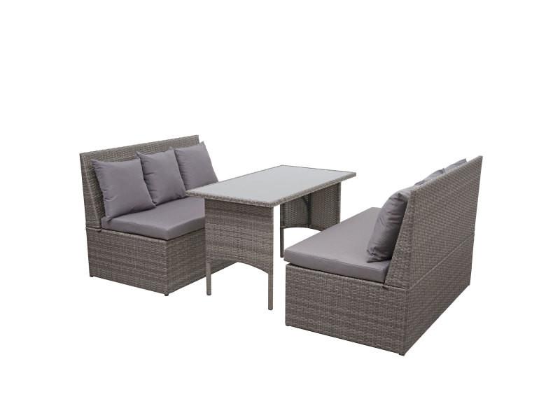 Garniture en polyrotin hwc-g16, jardin, gastronomie, 2x canapé 2 places, table ~ gris, coussin gris foncé