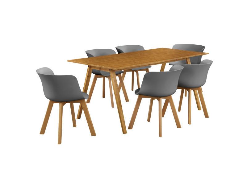 En Casa Table A Manger Avec 6 Chaises Bambou Gris180x80 Table De