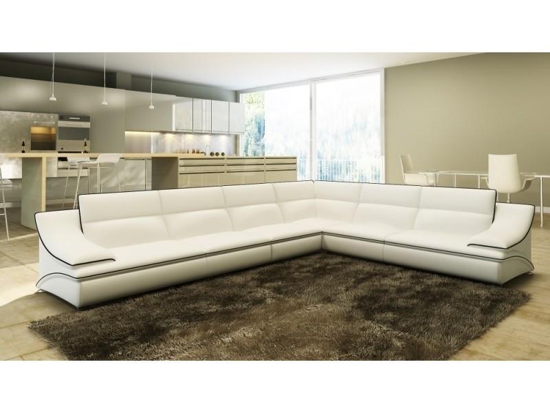 Canapé d'angle cuir design blanc et noir roxa-