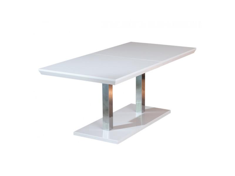 Table rectangulaire meuble cuisine salon salle manger design moderne blanc laqué